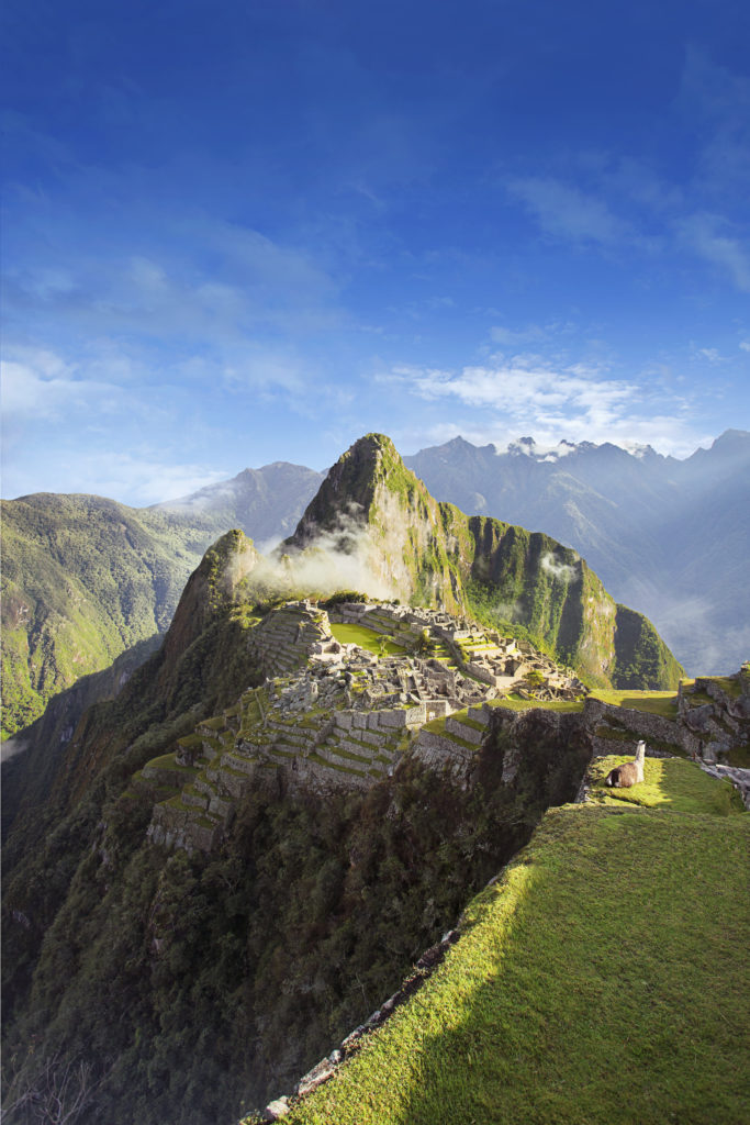 Overview of 15th-century Inca city of Machu Picchu.